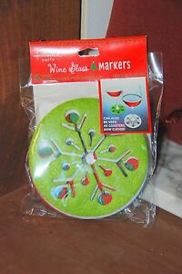 Wine-Glass-Markers-Snowflakes-Hallmark-Party-set-of-6-or-Felt-Coasters