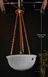 Rare-1930s-Art-Deco-Opaline-moonstone-milk-glass-amp-bronze-pendant-light-fixture