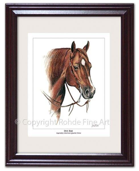 DOC BAR - FRAMED AMERICAN QUARTER HORSE ART aqha Rohde portrait painting NICE