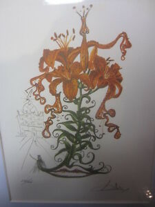 salvador-dali-numberd-and-signed-pencil-litho-Tiger-Lilies-of-the-Theat