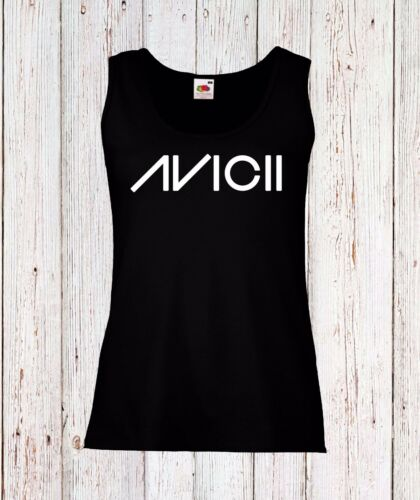 AVICII 4 WOMEN LADY VEST TOP TANK T-SHIRT FUN LOGO BLACK//WHITE MUSIC DJ