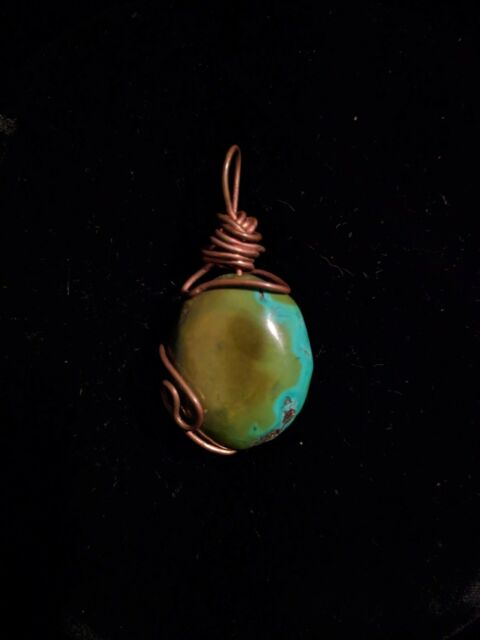 Turquoise Copper Wire Wrapped Pendant