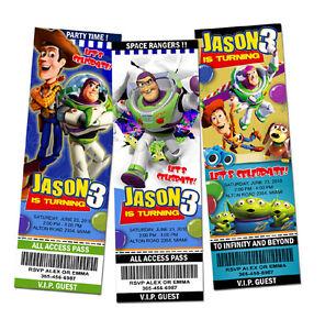 Toy Story Birthday Party Invitation Ticket 1 2 3 Invite Custom Buzz