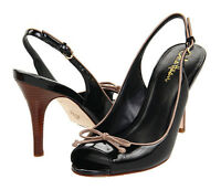 Cole Haan Air Talia Black Patent Leather Bow Slingback Size 7 B Sandal Shoe