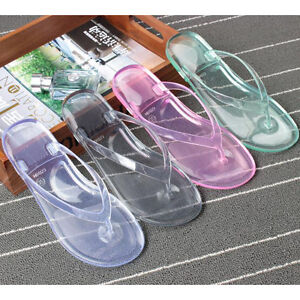 Details about Women Jelly Thongs Flip Flops Summer Transparent Flat Sandal Slipper Shoes Size