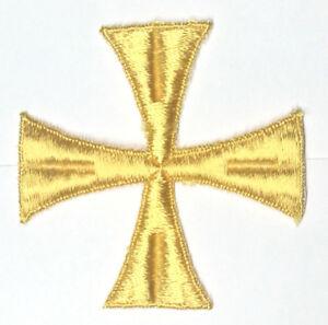Vintage-Cuadrado-Cruz-Bordado-para-Coser-Oro-C230-4-034-Maltes-Emblema-Parche-2PC