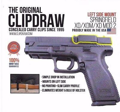 Clipdraw Belt Clip Springfield XD/XDM/XD MOD 2 9/40/45 IWB OWB Black Left  Side 859874005273   eBay