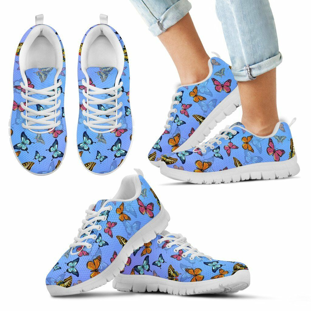 Colorful Butterfly Women's And Children's Sneakers - Custom Graphic Design Shoes