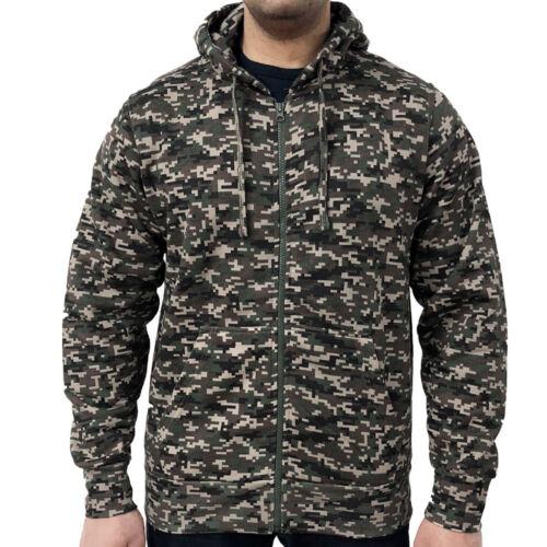 GIOCO da Uomo Mimetica Felpa Con Cappuccio Cerniera Digital Camouflage Felpa con cappuccio MIMETICO