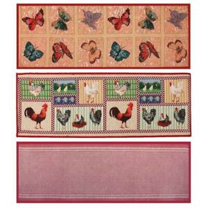 Deluxe Jacquard Runners Kitchen Rugs Butterfly Farmhouse Woodland Sage Bordeaux Ebay