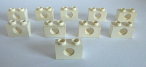 10 x lego ® 1879//3700 tecnología agujero piedras 1x2 blanco como en la foto.