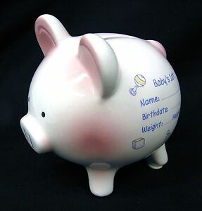 Baby S 1st Piggy Bank Ceramic Standing Money Coin College