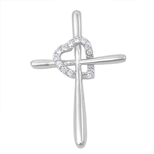 Heart Cross Pendant Clear Simulated CZ .925 Sterling Silver Charm