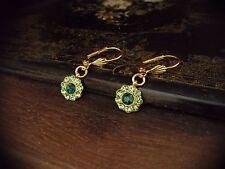 Vintage Emerald & Peridot Green Crystal & Gold Leaf Round Drop Pierced Earrings