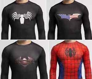 Batman-Superman-Spiderman-Armour-Mens-Compression-Under-Long-Shirt-Top-UK-SELLER