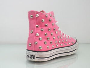 Converse all star Hi borchie scarpe donna sneaker rosa pink artigianali