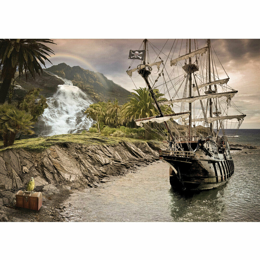 Photo Wall Paper Sail Ship Palm Waterfall Sea Mountain Parred Liwwing No. 562