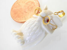 14K GOLD 3D WHITE BONE CARVED OWL W/RED RUBY EYES & 14K GOLD EYE GLASSES PENDANT