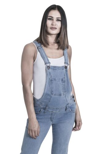 Palewash Denim Pregnancy Fashion Overalls GRACE Maternity Dungarees
