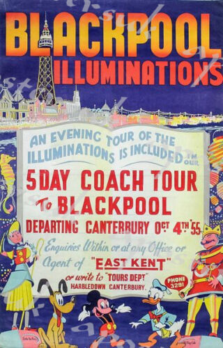 Vintage Coach Tour to Blackpool Illuminations Poster A3//A4 Print