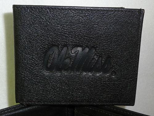 OLE MISS Mississippi REBELS Leather BiFold Wallet   black