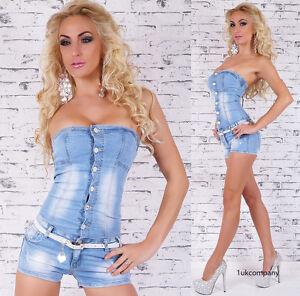 Women-039-s-Jeans-Jumpsuit-Blue-Denim-Overall-Summer-Hot-Shorts-inc-Belt-U-K-8-14