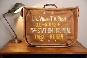 Vintage-Antique-Doctor-Bag-US-Military-Hospital-Korea-Dragon-Canvas-Suitcase-Old