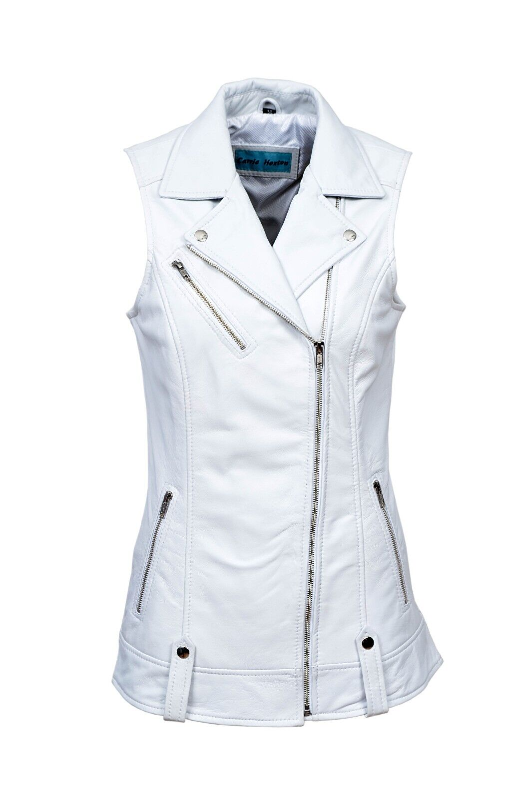 Luxury New Ladies Biker Waistcoat White Real Nappa Leather Casual Style Design