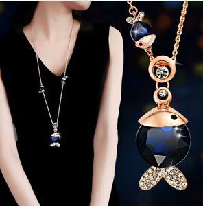 Damen-Halskette-Schmuck-Fisch-MIT-Anhaenger-Gold-lange-Kette-Geschenk-Frauen-M54