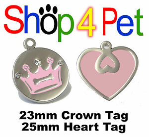 Cat-Dog-Tag-PET-ID-TAGS-Pink-Crown-amp-Diamantes-or-Pink-Heart-Engraved-Options