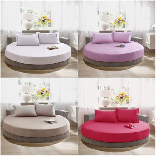 100/% Cotton Round Fitted Sheet Bed Sheet Mattress Cover Theme Hotel Solid Color