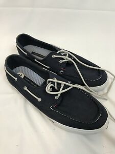 14f582f35 Tommy Hilfiger Black Canvas Boat Shoes TMPHILO Mens Size 12 - Used ...