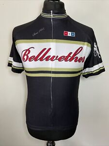 Bellwether Black Spell Out Logo Retro Cycling Shirt Short Sleeve Jersey L