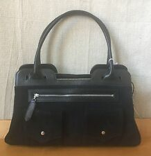 CHRISTIAN LOUBOUTIN PARIS Black Suede Handbag with Silver Detailing