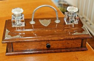 Antique Vintage Oak Desk Tidy Glass Inkwell Stand with Drawer 2 Lidded Inkwells