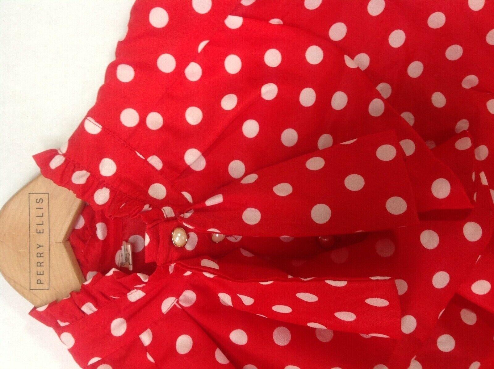 Vintage Red White Polka Dot High Neck Ruffle Blou… - image 5