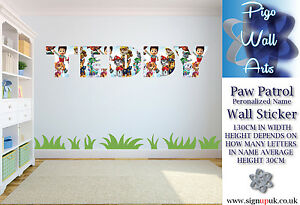Image Is Loading Paw Patrol Wall Sticker Personalised Name  Childrens Bedroom
