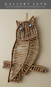 WOW! VTG MID CENTURY MODERN BENTWOOD OWL WALL ART! 60'S 50S ATOMIC DECOR HANGING
