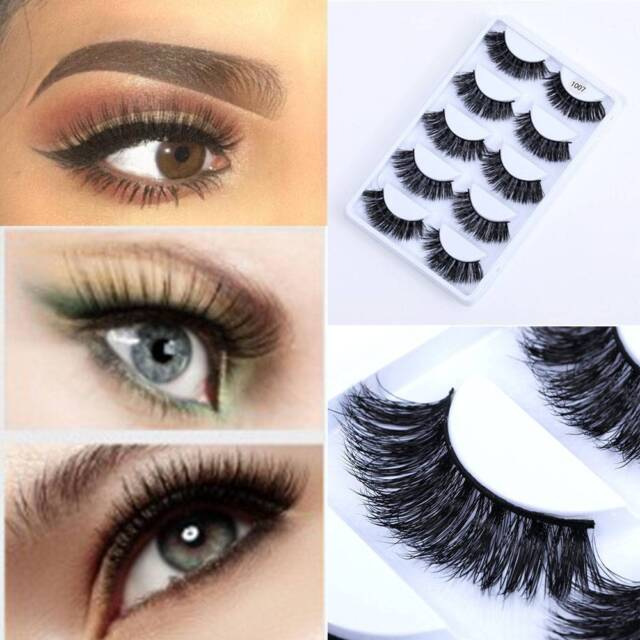 5 Pairs 3D Mink Eyelashes Natural False Eyelashes Soft Fake Eyelashes Extension!