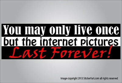 Funny bumper sticker - YOLO but Internet pictures live on - vinyl or magnet