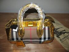 Auth BURBERRY Prorsum Blaze House Check Handbag/Satchel Iris Yellow