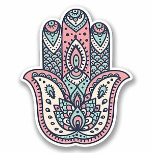 2 X 10cm Hamsa Hand Vinyl Decal Sticker Religion Lotus Flower