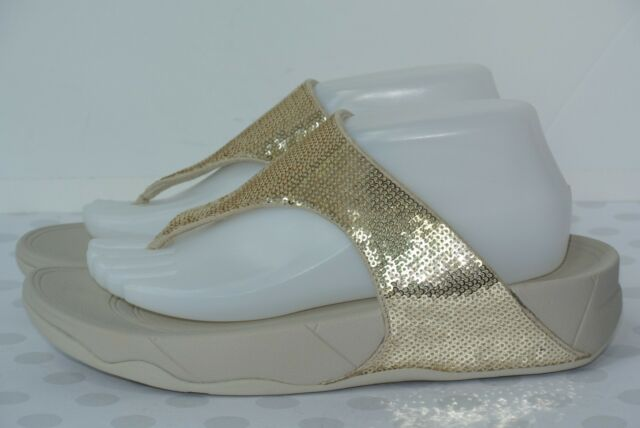 51dd89bed013ea NEW FitFlop Electra Classic Womens Sz 8 Pale Gold Sequin Comfort Sandals   130