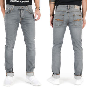 Nudie Herren Slim Fit Bio Denim Stretch Jeans Hose Grau | Grim Tim Pale Lead