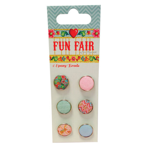 Pack 6 Fun Fair by Helz Cuppleditch Epoxy Brads great for cards and crafts