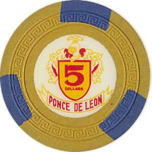 (1) PONCE DE LEON $5 CASINO CHIP PUERTO RICO SM-KEY MOLD FREE SHIPPING *