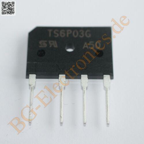 1 x TS6P03G Diode Rectifier Bridge Single 50V 6A 4-Pin TS-6P Taiwan Se  1pcs