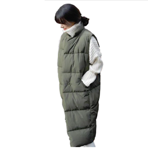 Long Padded Winter Vest For Women Sleeveless Soft Cotton Warm Thermal Outerwear