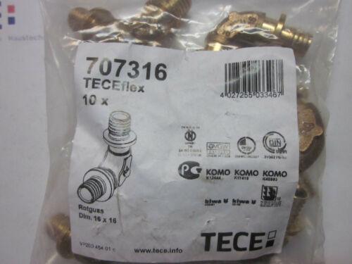 10 TECEflex 707316 Bogen verlustoptimiert 90 Winkel 16 x 16 Rotguss Fitting TECE