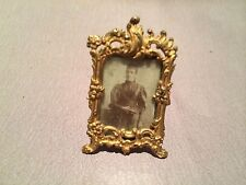 Original Miniatur Bilderrahmen m. Foto, Messing um 1890